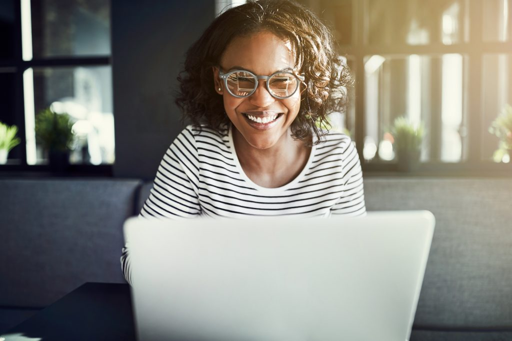 female using her laptop